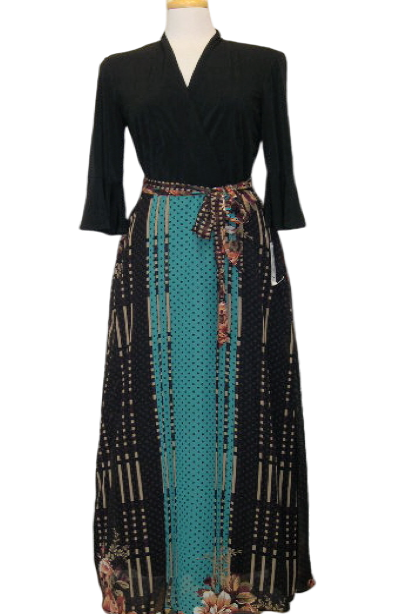 Bell-Sleeve Floral Pattern Maxi Dress Multi Color