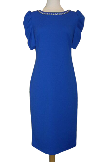 Flutter Sleeve Royal Blue Dress