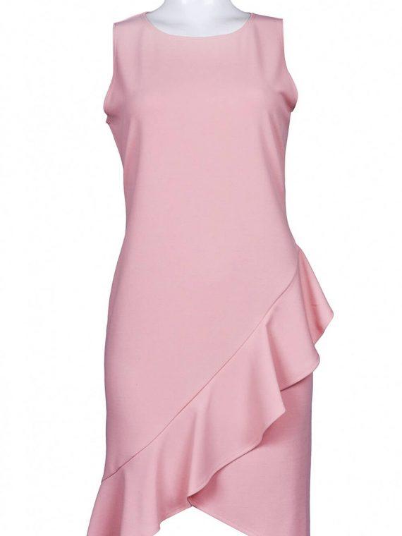 Bebe Sleeveless Ruffled Tulip Hem Satin Sheath Dress