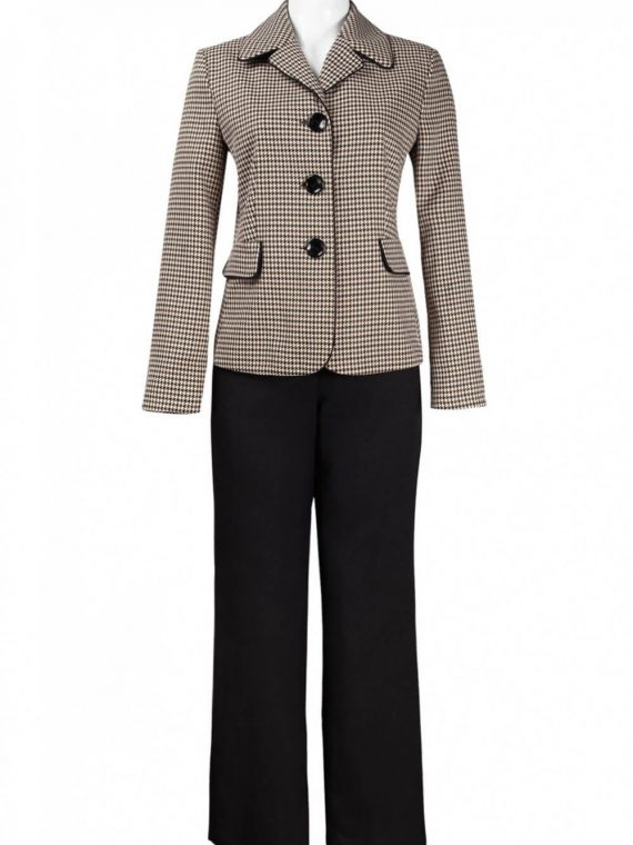 Danillo Notched Collar Flap Detail Houndstooth Twill and Crepe Pants Set_beige_brown_black