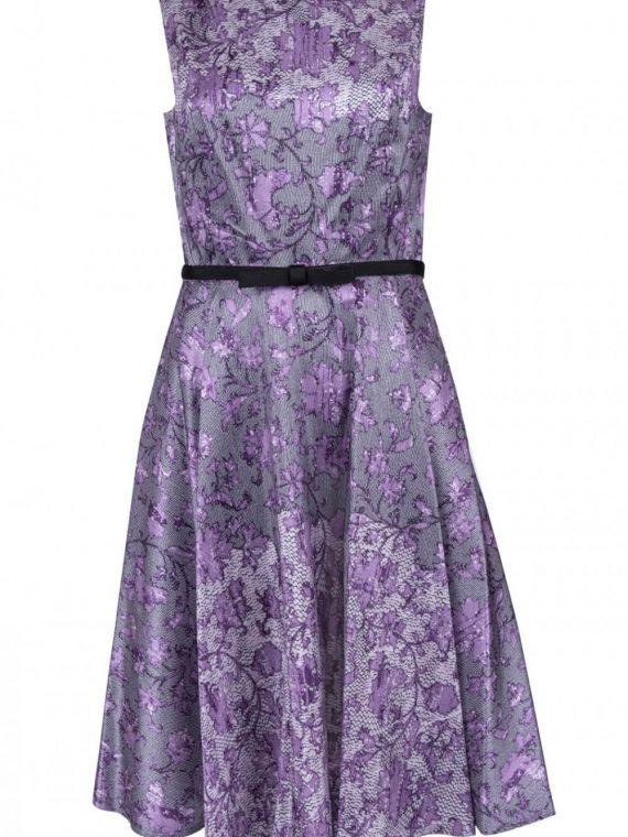 Gabby Style Abstract Print Sleeveless Jewel Neckline Pleated A-Line Dress_Purple Grey