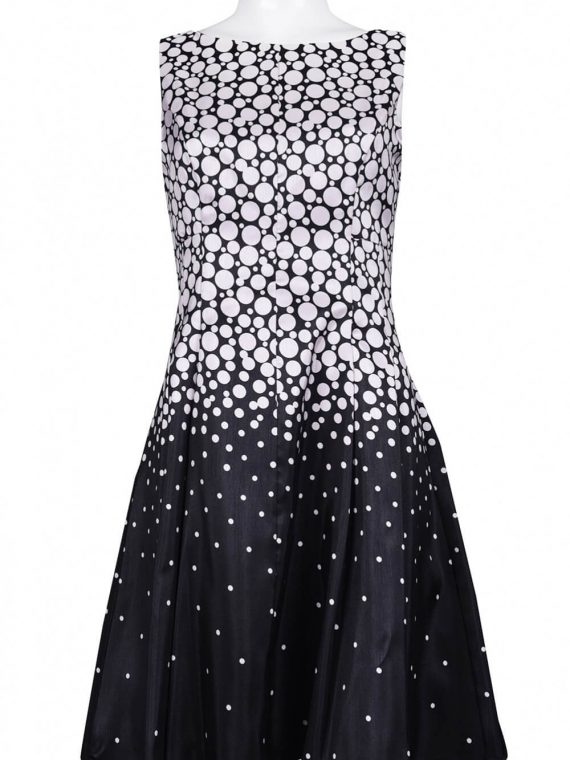 Gabby Style Boat Neckline Dotted Crepe Skater Dress