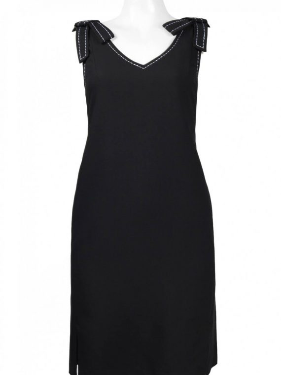 Jax V-Neck Sleeveless Cutout Slit Side Solid Crepe Dress_black