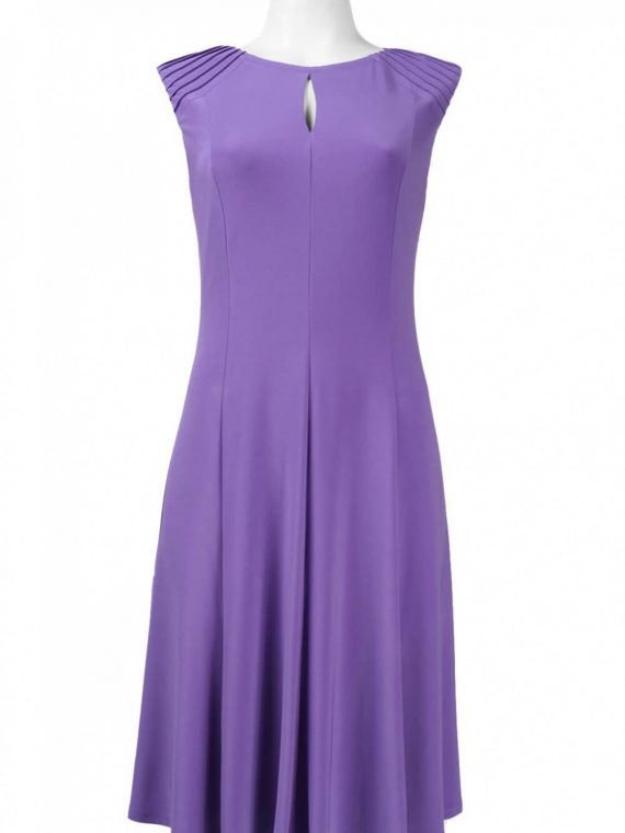 Kasper Keyhole Neckline Pintuck Shoulder Jersey Flared Dress_fiesta_purple