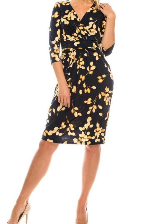 London Times Navy Soft Gold Floral Crepe Floral Jersey Surplice Dress_navy_soft_gold