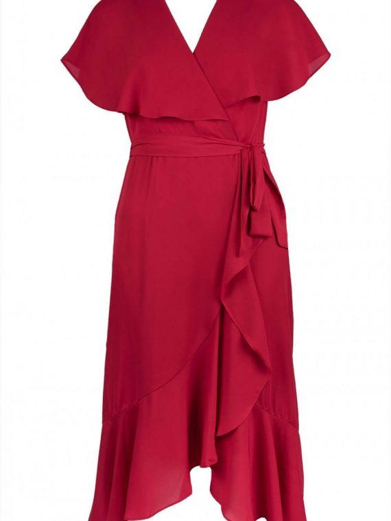 Maison Tara Ruffle Ilusion Wrap Dress_Crimson