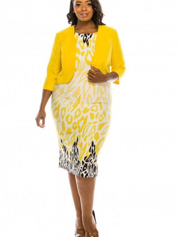 Maya Brooke Cheetah Printed 2 Piece Jacket Dress Suit_lemon_white