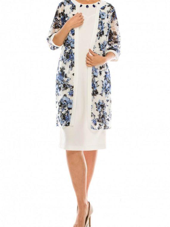 Maya Brooke Ivory Cobalt Floral Printed Day Jacket Dress Set_ivory_cobalt
