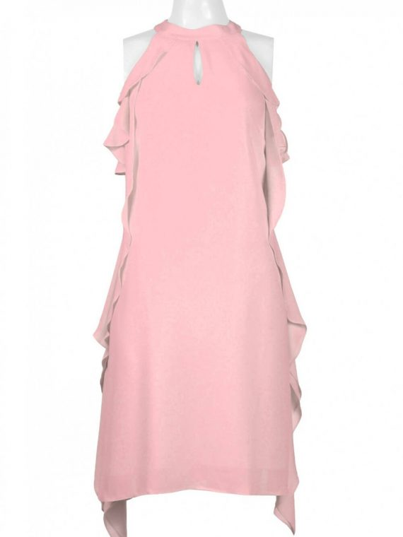 Nine West High Neck Sleeveless Keyhole Front Ruffled Solid Jersey Dress_tutu_pink