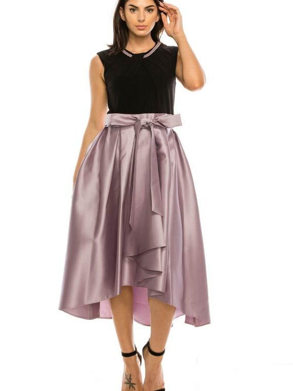 SLNY Black Lavender Pearl Trim Pleated Midi Party Dress_lavender_mist