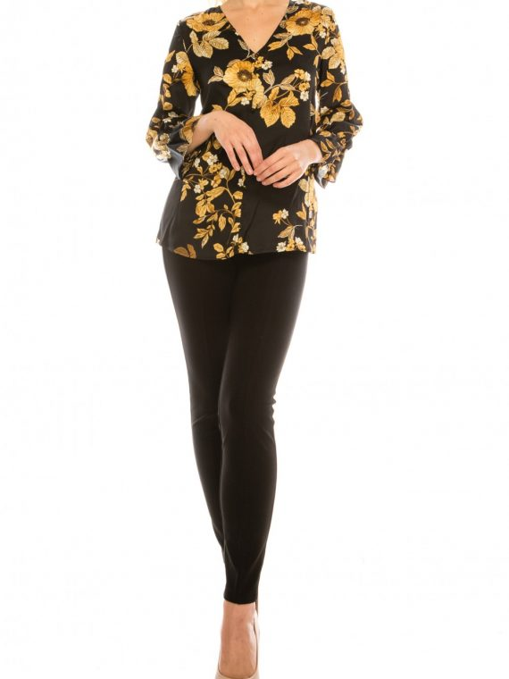 Zac & Rachel Black Gold Floral Printed Button-Loop Blouse_black_gold