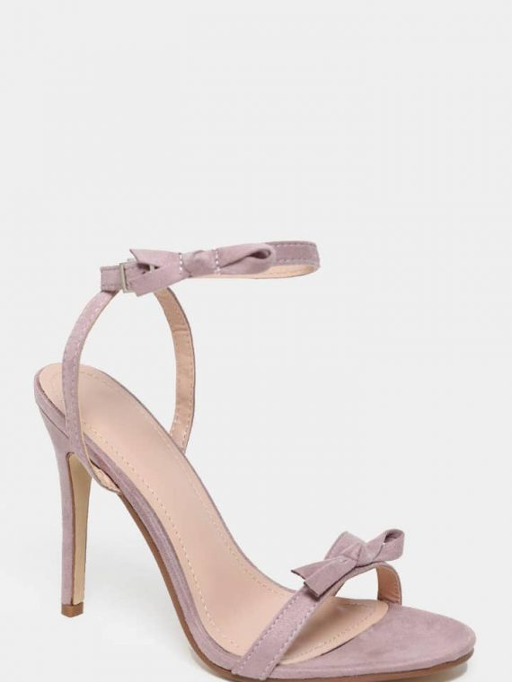 Bow Straps Light Purple Barely There Heel4