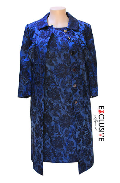 John Meyer Floral Jacquard Topper Jacket 2-Piece Dress Suit