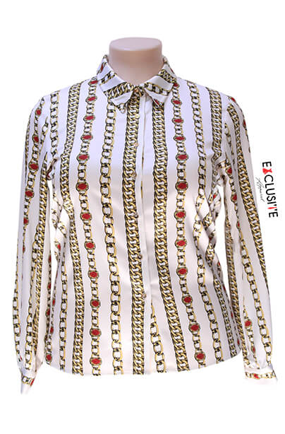Kasper Chain-Printed Collared Button-Up Shirt