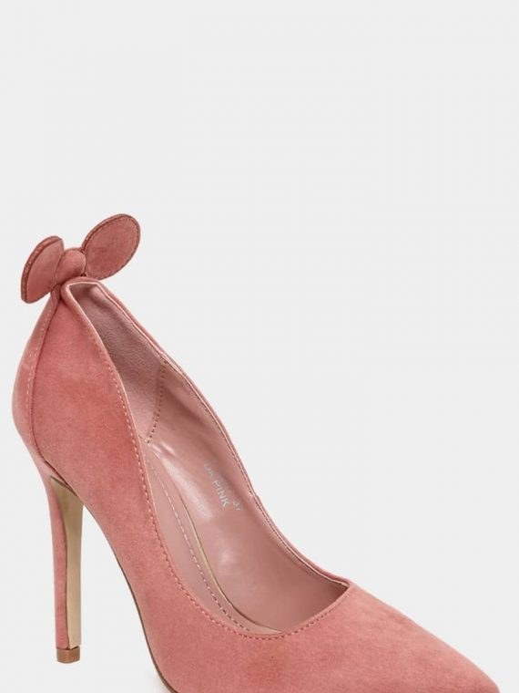 Pink Bow Detail Vegan Suede Stiletto Heels4