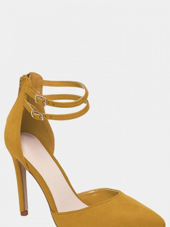 Twin Ankle Strap Vegan Suede Yellow High Heels