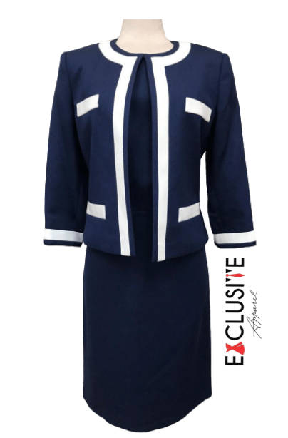 Blue White Dress Coat Suit logo