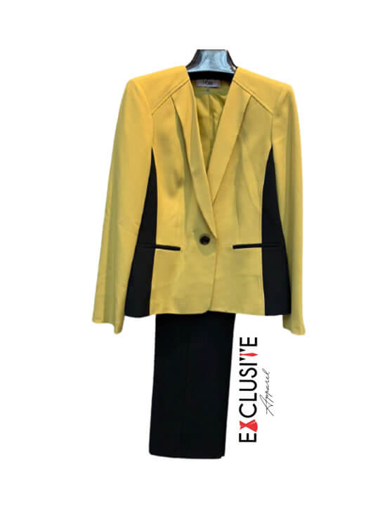 Le Suit Women's 1 Button Collarless Color Block Stretch Crepe Jacket with Pant Suit