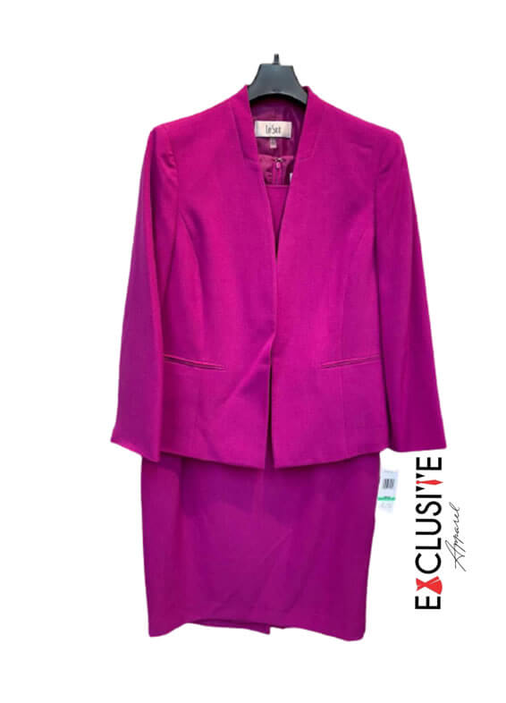 Le Suit Women's Crepe Flyaway Jacket with Sheath Dress Suit-Dress Set