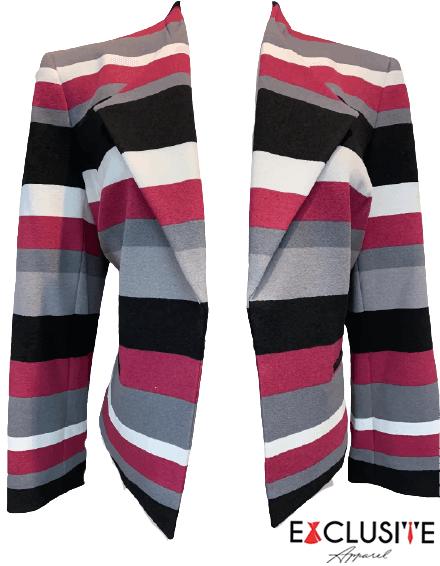 NINE WEST Women's Stripe Scuba Crepe Flyaway Jacket