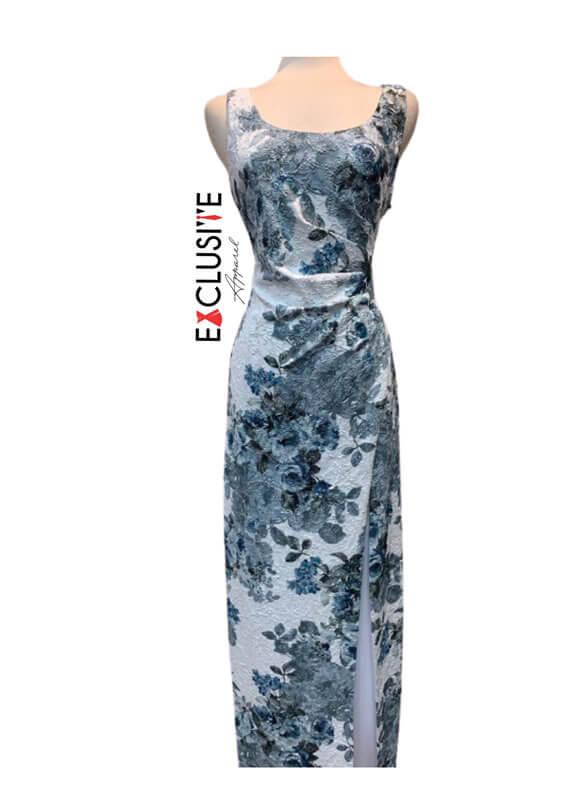 Adrianna Papell Matelasse Floral Maxi Dress, Glacier/Multi