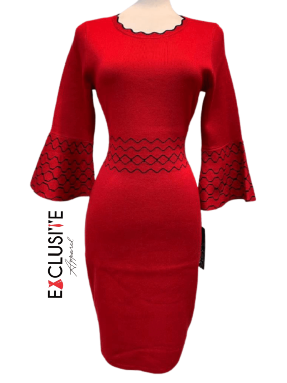 Bell Sleeves Red Dress