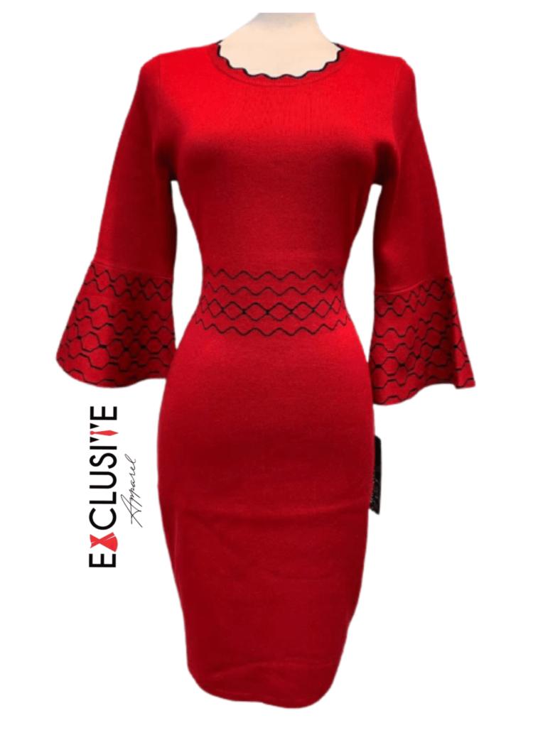 Nina Leonard Jacquard Bell-Sleeve Sweater Dress