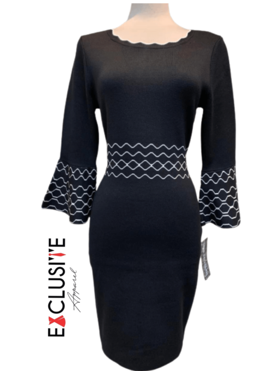 Bell sleeves Black dress with