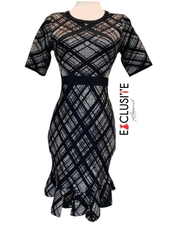 FittingGrey_Black with Ruffled hem Dress