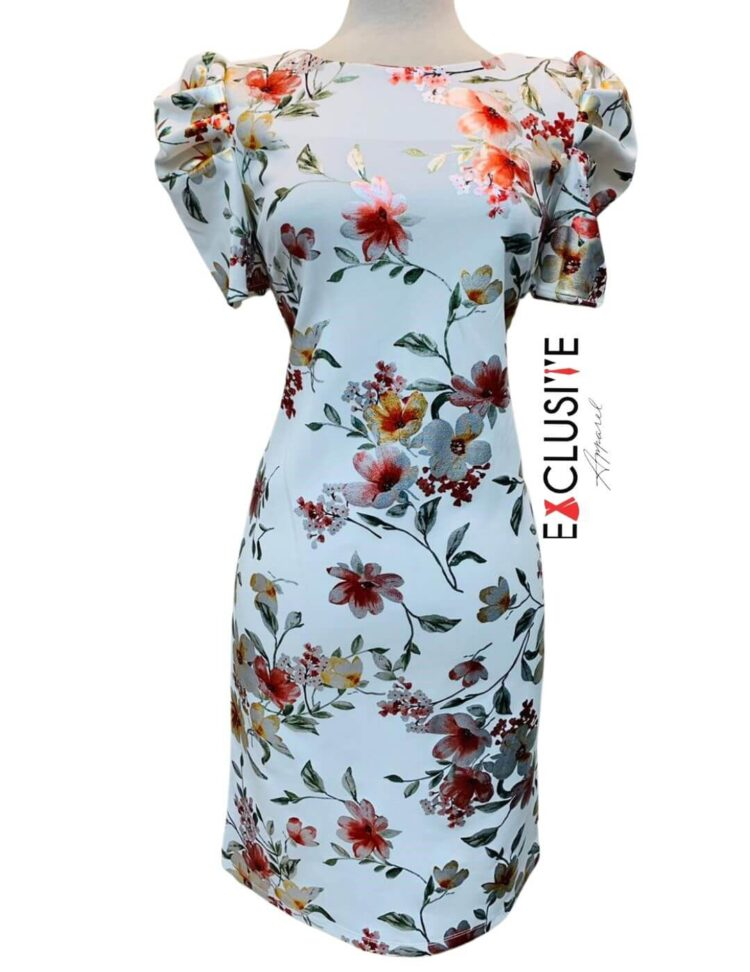 Shelby & Palmer Floral Sheath Dress Ivory/Red